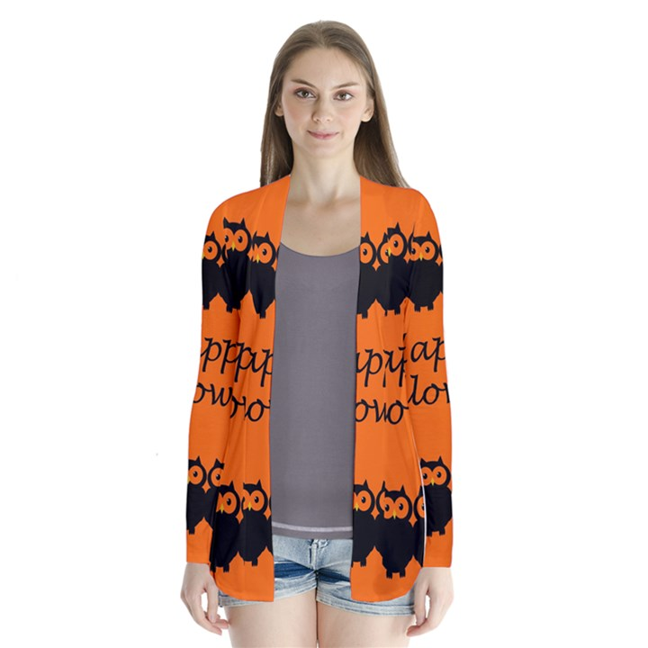 Happy Halloween - owls Drape Collar Cardigan