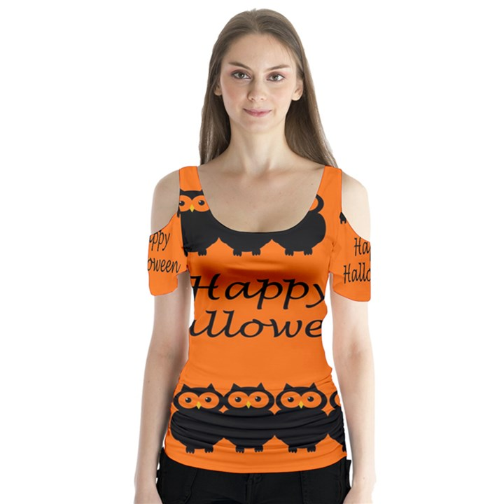 Happy Halloween - owls Butterfly Sleeve Cutout Tee