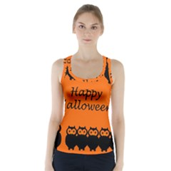 Happy Halloween   Owls Racer Back Sports Top