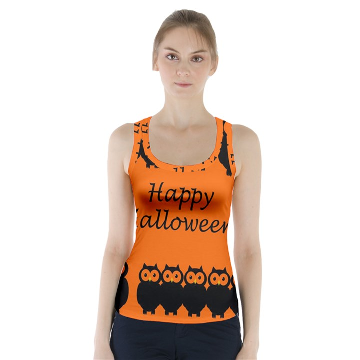 Happy Halloween - owls Racer Back Sports Top