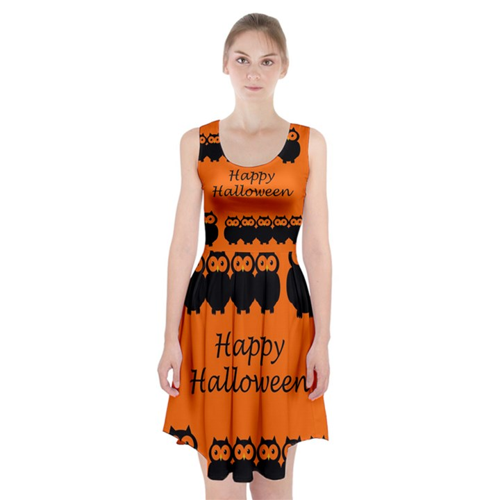 Happy Halloween - owls Racerback Midi Dress