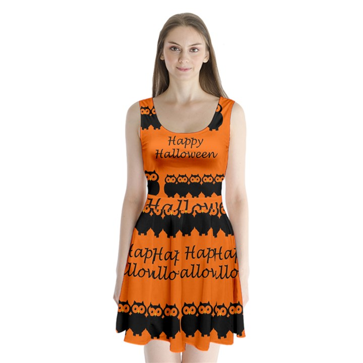 Happy Halloween - owls Split Back Mini Dress