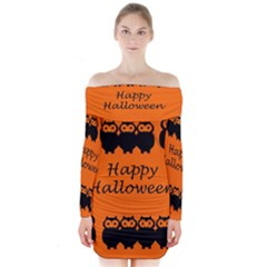 Happy Halloween - owls Long Sleeve Off Shoulder Dress