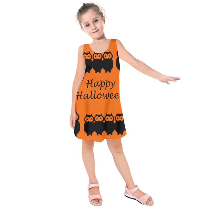 Happy Halloween - owls Kids  Sleeveless Dress