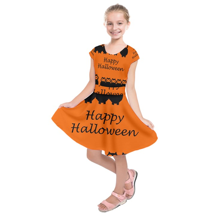 Happy Halloween - owls Kids  Short Sleeve Dress