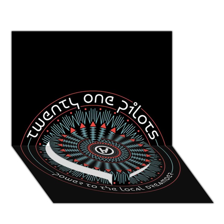Twenty One Pilots Heart Bottom 3D Greeting Card (7x5)