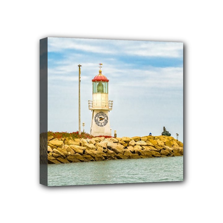 Rock Breakwater Salinas Ecuador Mini Canvas 4  x 4
