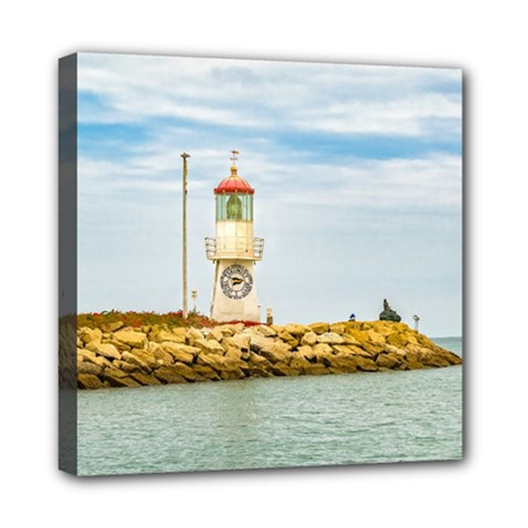 Rock Breakwater Salinas Ecuador Mini Canvas 8  x 8
