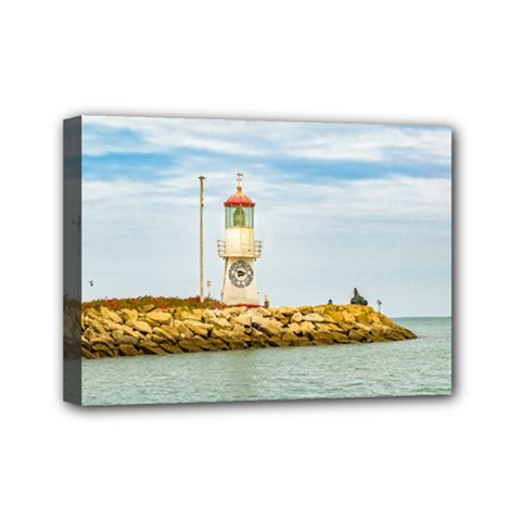Rock Breakwater Salinas Ecuador Mini Canvas 7  x 5