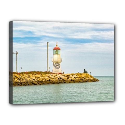 Rock Breakwater Salinas Ecuador Canvas 16  x 12