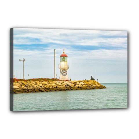 Rock Breakwater Salinas Ecuador Canvas 18  x 12
