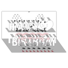 Ugly Christmas Humping Happy Birthday 3D Greeting Card (8x4)