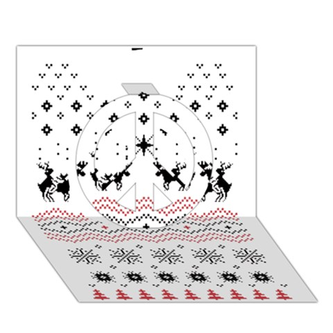 Ugly Christmas Humping Peace Sign 3D Greeting Card (7x5)