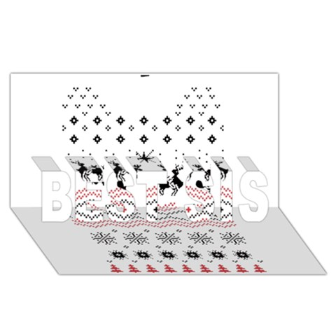 Ugly Christmas Humping BEST SIS 3D Greeting Card (8x4)