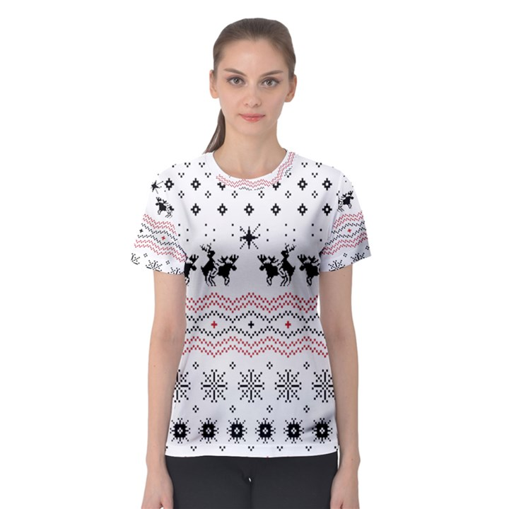 Ugly Christmas Humping Women s Sport Mesh Tee