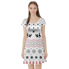 Ugly Christmas Humping Short Sleeve Skater Dress