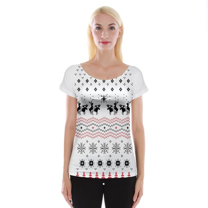 Ugly Christmas Humping Women s Cap Sleeve Top