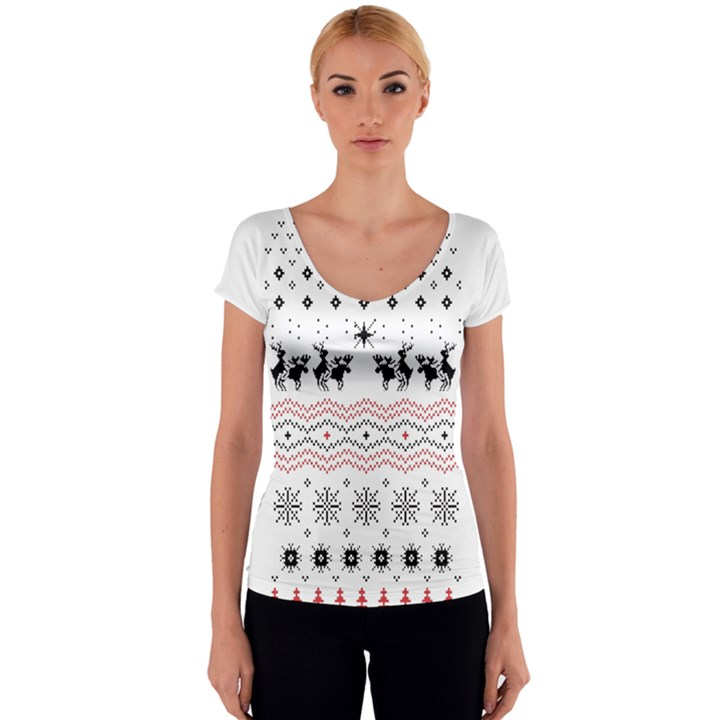 Ugly Christmas Humping Women s V-Neck Cap Sleeve Top