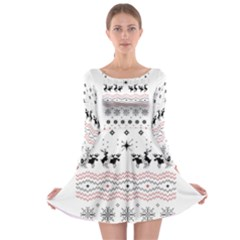 Ugly Christmas Humping Long Sleeve Skater Dress