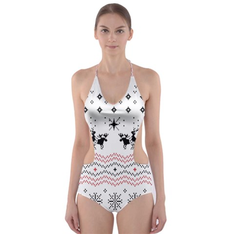 Ugly Christmas Humping Cut-Out One Piece Swimsuit