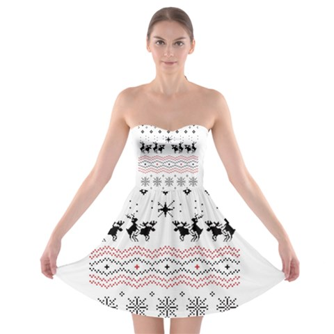 Ugly Christmas Humping Strapless Bra Top Dress