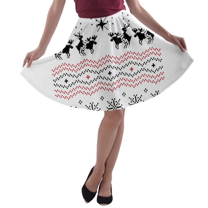 Ugly Christmas Humping A-line Skater Skirt