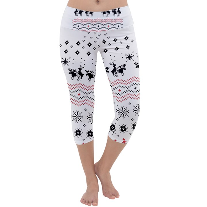 Ugly Christmas Humping Capri Yoga Leggings