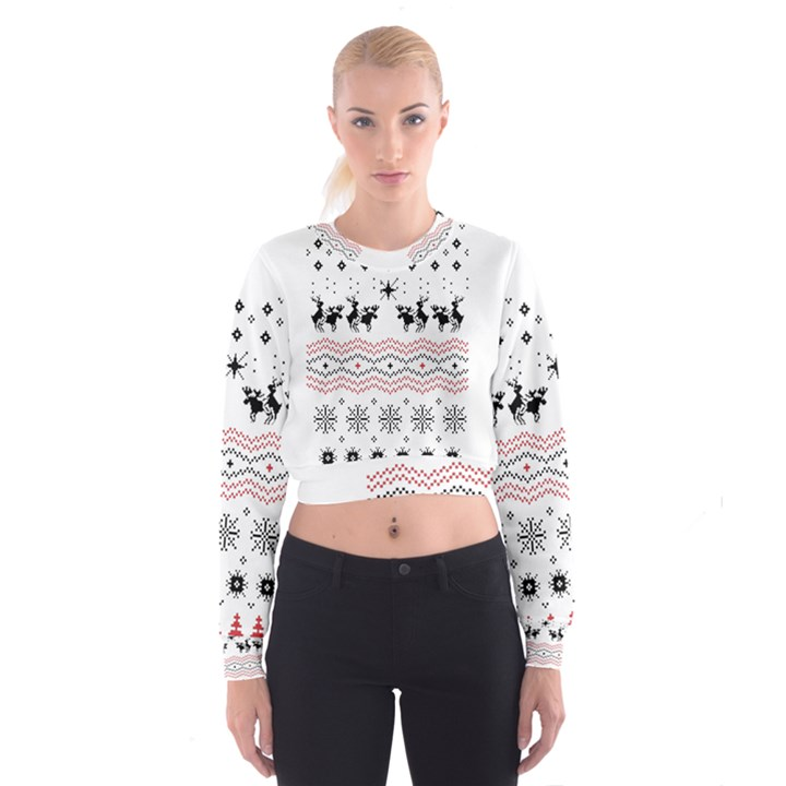Ugly Christmas Humping Women s Cropped Sweatshirt