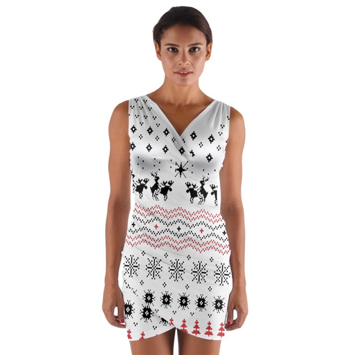 Ugly Christmas Humping Wrap Front Bodycon Dress