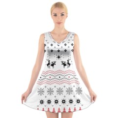 Ugly Christmas Humping V-Neck Sleeveless Skater Dress