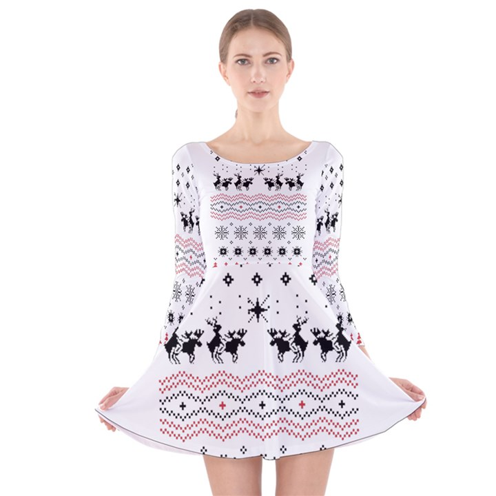 Ugly Christmas Humping Long Sleeve Velvet Skater Dress