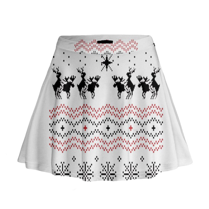 Ugly Christmas Humping Mini Flare Skirt