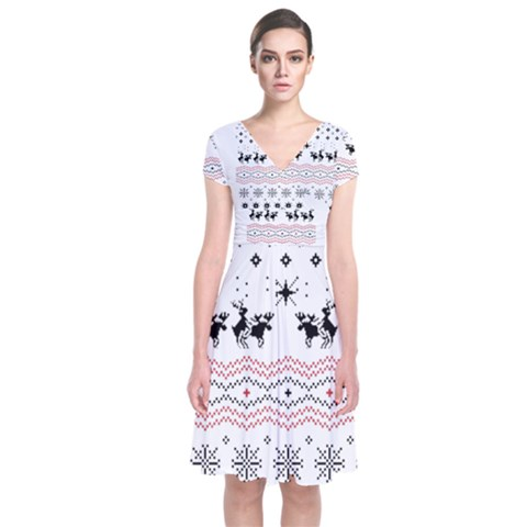 Ugly Christmas Humping Short Sleeve Front Wrap Dress