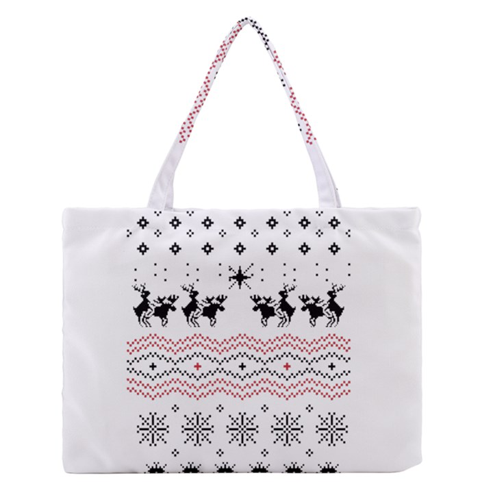 Ugly Christmas Humping Medium Zipper Tote Bag