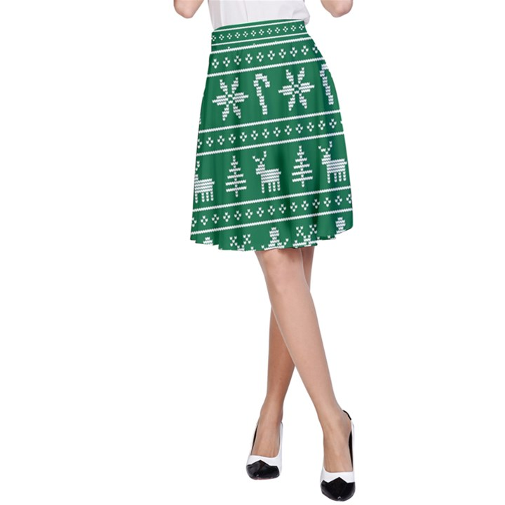 Ugly Christmas A-Line Skirt