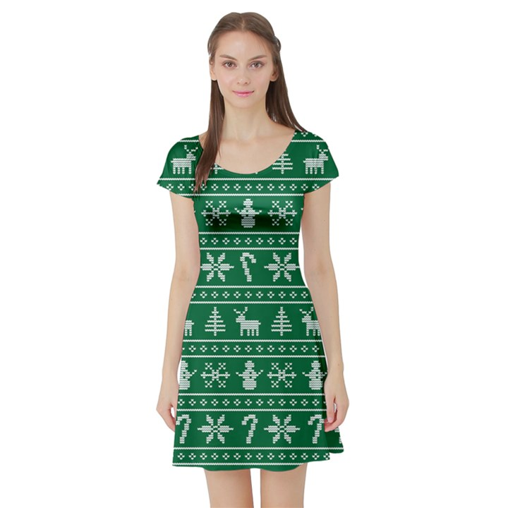 Ugly Christmas Short Sleeve Skater Dress