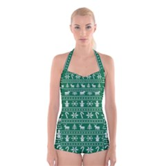 Ugly Christmas Boyleg Halter Swimsuit