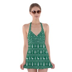Ugly Christmas Halter Swimsuit Dress