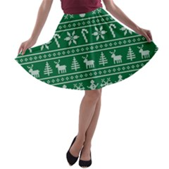 Ugly Christmas A-line Skater Skirt
