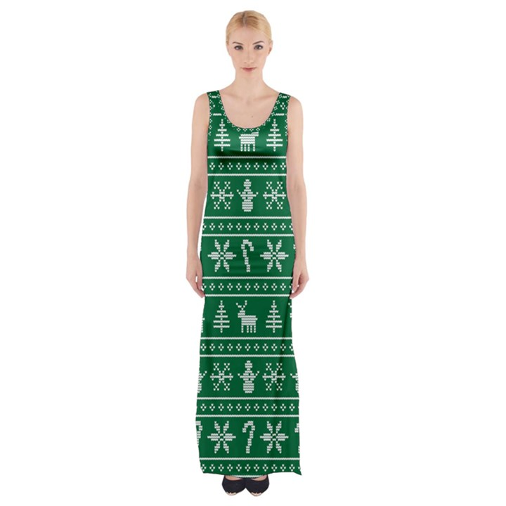 Ugly Christmas Maxi Thigh Split Dress