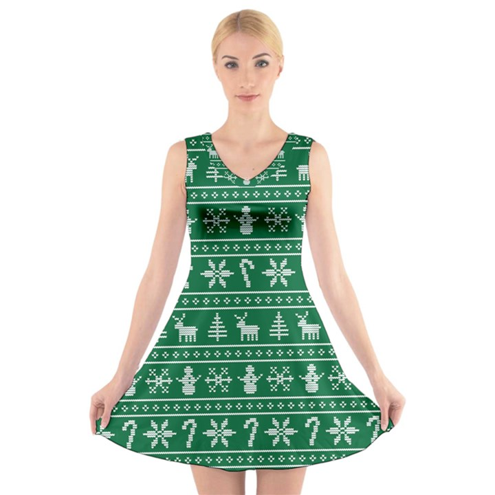 Ugly Christmas V-Neck Sleeveless Skater Dress