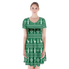 Ugly Christmas Short Sleeve V-neck Flare Dress