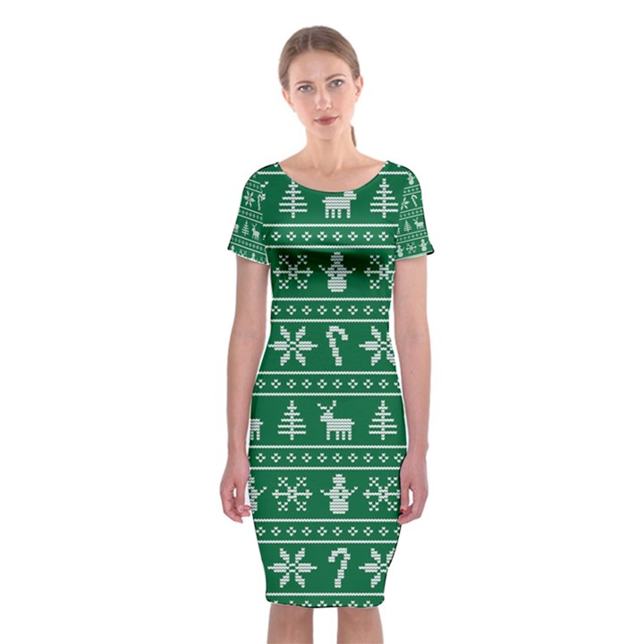 Ugly Christmas Classic Short Sleeve Midi Dress
