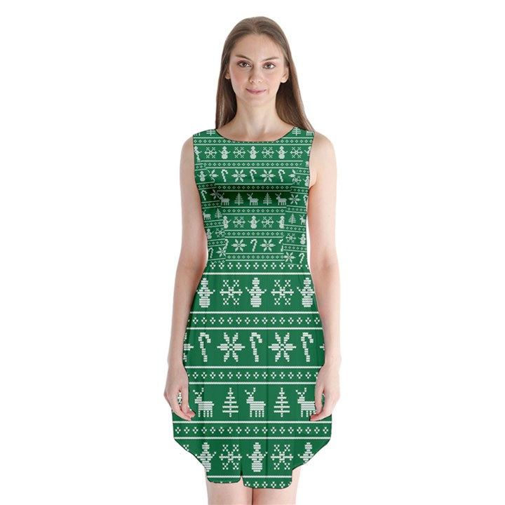 Ugly Christmas Sleeveless Chiffon Dress