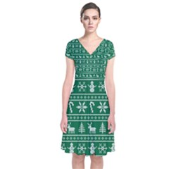 Ugly Christmas Short Sleeve Front Wrap Dress