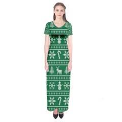 Ugly Christmas Short Sleeve Maxi Dress