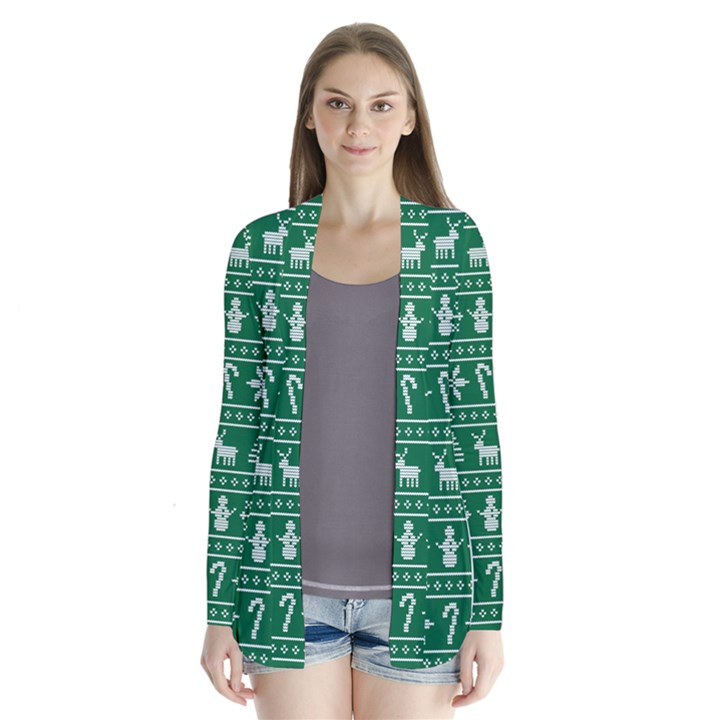 Ugly Christmas Drape Collar Cardigan