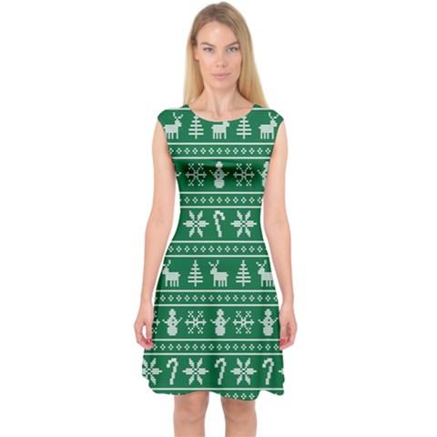 Ugly Christmas Capsleeve Midi Dress