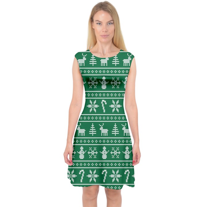 Ugly Christmas Capsleeve Midi Dress