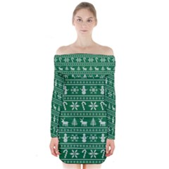 Ugly Christmas Long Sleeve Off Shoulder Dress